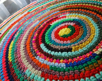 Multicolor 50'' Handmade circle rug