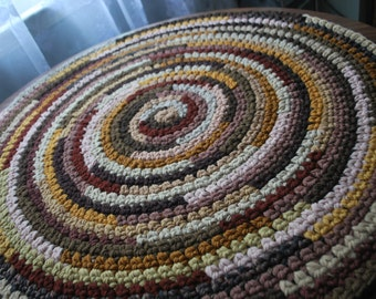 Brown handmade circle rug