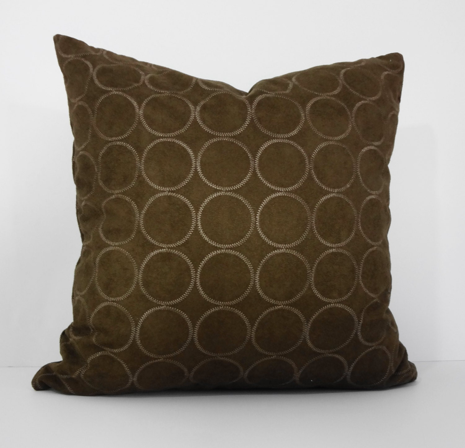 Decorative Pillow Brown : Brown Suede Decorative Pillow Cover Geometric Circles Throw