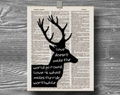 book page dictionary art print poster quote typography vintage decor inspirational motivational love deer silhouette elizabeth browning
