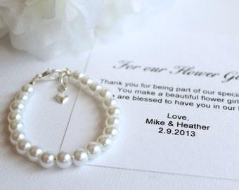 Flower Girl Gift Pearl Bracelet Silver Heart Charm Dangle ivory or white pearls w/ Flower Girl Thank you Card  -- FREE Gift Packaging