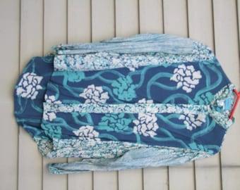 Vintage Batik floral print in Blue tones ala 1980s longer in back XL