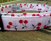 Cherries Jubilee adjustable dog collar