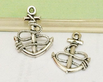 Anchor charms -25pcs Antique Silver Anchor Charm Pendants 18x24mm AA406-1