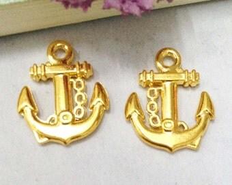 Anchor charms -20pcs Gold Plated Mini Anchor Charm Pendants 15x18mm C101-1
