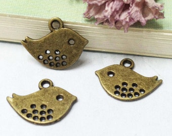 30pcs Filigree Mini Bird Charm Connectors Antique Bronze Charms and Pendants 12x15mm E503-2