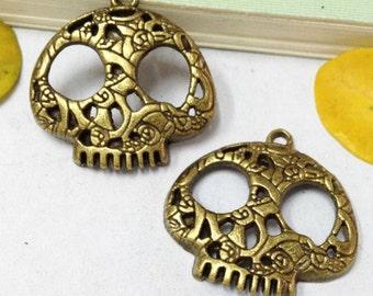 Steampunk Skull Charms -15pcs Antique Bronze Filigree Skull Charm Pendants 24x27mm C404-5