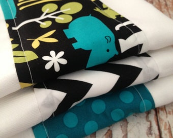 Burp Cloths, Set of Three - Gender Neutral - Zoology in Lagoon by Michael Miller