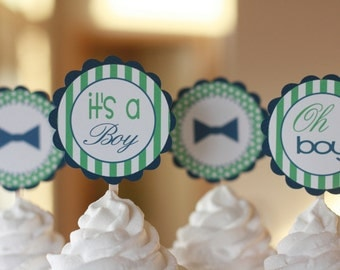"12 - Little Man ""Oh Boy"" Green Navy Blue Bowtie Mustache Theme Baby Shower Cupcake or Cake Toppers - Ask About our Party Pack Sale"