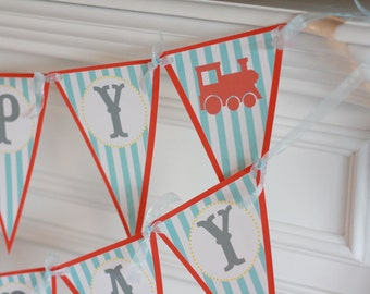 Happy Birthday Pennant Vintage Train Theme Banner - Ask About Our Party Pack Specials - Free Ship Over 65.00