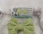 Green Polka Dot Little Girls Bow Tie and Button Earring Set