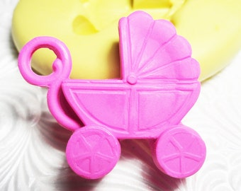 BABY BUGGY CARRIAGE  Mold Flexible Silicone Push Mold for Resin Wax Fondant Clay Fimo Ice