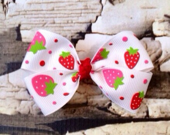 Strawberry Bow - Hair Bow - Pink Red Stawberry Hair Clip - White Fruit Bow - Summer Pink Bow