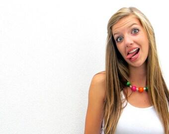 Gumball Necklace Green Orange Pink Bright Fun Jewelry