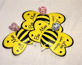 Bee Lollipop Personalized Valentine Cards- Printable or Shipped