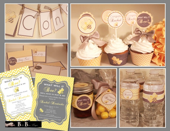 Bee- What will it Bee Baby Shower- Party Pack (gray & yellow)