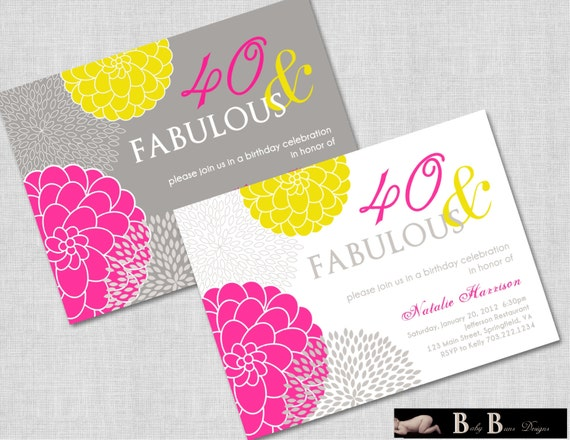 40 and Fabulous 40th or 50th Birthday Invitation- Gray, Pink & Yellow