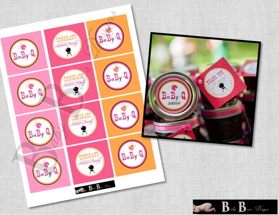 Baby-Q Coed Baby Shower (BBQ)- 2 inch circles, cupcake toppers, round tags- Printable or Shipped (pink, orange, lady bugs)