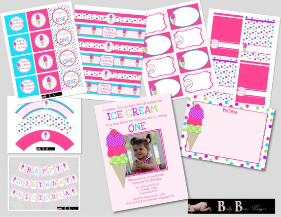 Ice Cream Party (Pink, Blue, Green & Purple)- Printable Party Supplies