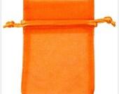 6 x 9  inch Pumpkin  organza bags Plain Sheer Lot of 10