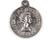 10 Tibetan Silver Roman Style Coin Charm