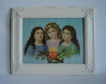 Antique - rare and vintage - delicate picture - religious art decor