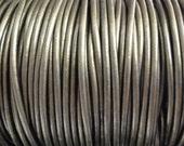 2mm Metallic Gauriya Leather Cord  -  Genuine Leather 2mm Round Cord - 2 Yard Increments
