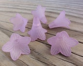Lucite Flower Beads - Light Purple Matte Frosted Large Trumpet Lily 22x22mm