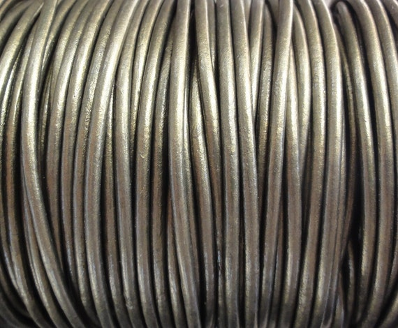2mm Metallic Gauriya Leather Cord  -  Genuine Leather 2mm Round Cord - 2 Yard Increments
