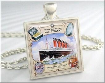 Titanic Art Pendant Victorian Ad Jewelry Vintage Titanic Era Cruise Ship Art Necklace Resin Charm (449SS)