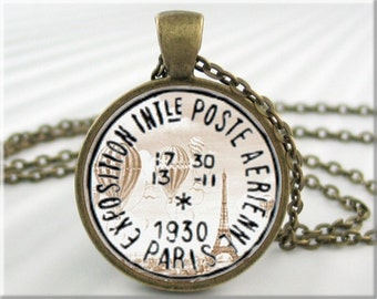 Paris Postmark Pendant Paris France Postal Mail Jewelry Travel Necklace Art Resin Charm (554RB)