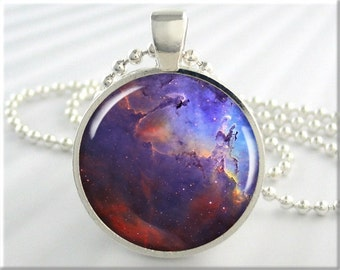 Eagle Nebula Pendant, Picture Pendant Charm, The Eagle Nebula, Hubble Picture, Resin Space Jewerly, Round Silver, Space Gift (596RS)