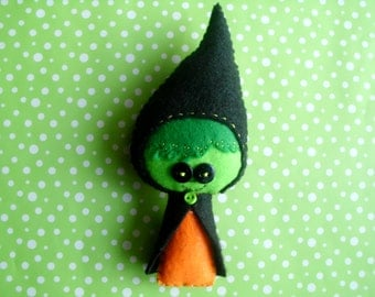 Stuffed Sweet Witch Green Orange Black Plush Plushie Softie Stuffed Doll Gingermelon Design Ginger Melon Gift Ooak Cute Wicked