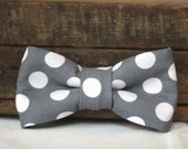 Grey BOW TIE - Polka Dot Tie on Elastic, fits Baby Boy to Adult
