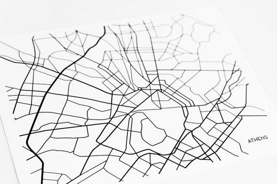 Line Art Map : Athens greece city map art print greek line by