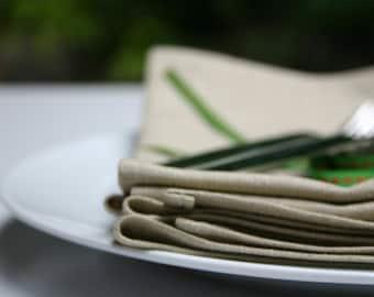 Set of 2 - Cloth Dinner Napkins - Linen/Cotton 17 inch (43cm) square - Oatmeal Serviettes