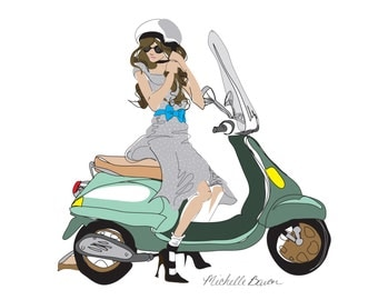 Fashion Illustration, Vespa, Girl on a Vespa, Illustration Art Print