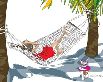Fashion Illustration, Relaxing on the Beach Illustration, Whimsical Illustration, Summer, Beach theme wall art