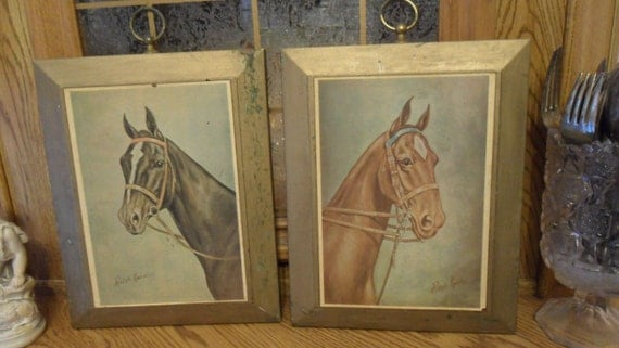 Vintage Ralph Knowles Prints on Wood Board Wall Hangings  Gorgeous Horse Paintings