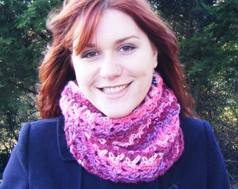 Pink Stripy Womens Cowl