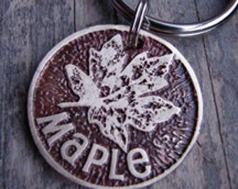 Pet Tag, Dog Tag, Pet ID, Custom Maple Leaf Etched Pet Tag for Dog or Cat