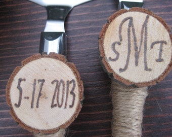 Personalized Cake Knife Set, Wedding Cake Knife, Rustic Wedding, Wood Slice Knife Server Set, Wedding Cake Server Set, Wedding Knife