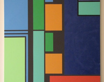 """Stunning Green & Blue De Stijl Giclee Art Print on Stretched Canvas (34"""" x 32"""") in the style of Mondrian, Signed by Hand"""