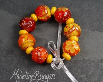 Happy Apricot, rounds Lampwork bead set (7 plus 8 spacers) SRA,