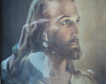 Retro Spiritual and Holy Depiction of Jesus, A Vintage Lithographic Print  Portrait of Jesus which exudes Grace, Serenity and Holiness