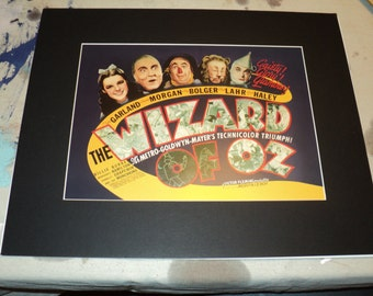 LIONS and TIGERS And BEARS Oh My!  Vintage Movie Poster Reproduction Print of The Wizard of Oz in Matted and Ready for Framing in good shape