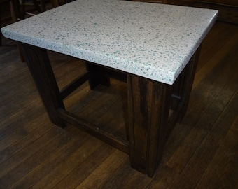 White concrete and Green recycled glass table with dark stained stand