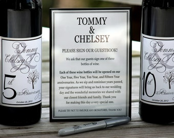 Wine label guest book, Guestbook Wine Kit, Wine Bottle Guest Book Kit Gift Boxed, Custom labels, wedding wine labels, personalized labels