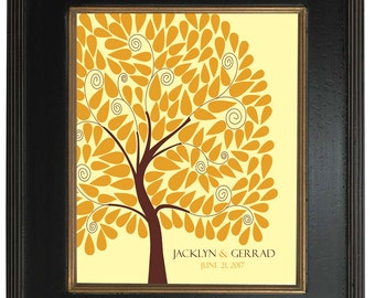 Unique Wedding Guest Book, An Interactive Art Print - 146 guest sign in 20x24, FINGERPRINT GUEST TREE, Sugar Vine Art, num.127