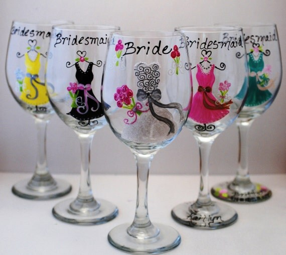 Hand Painted Wine Glasses Bridesmaid Gift
